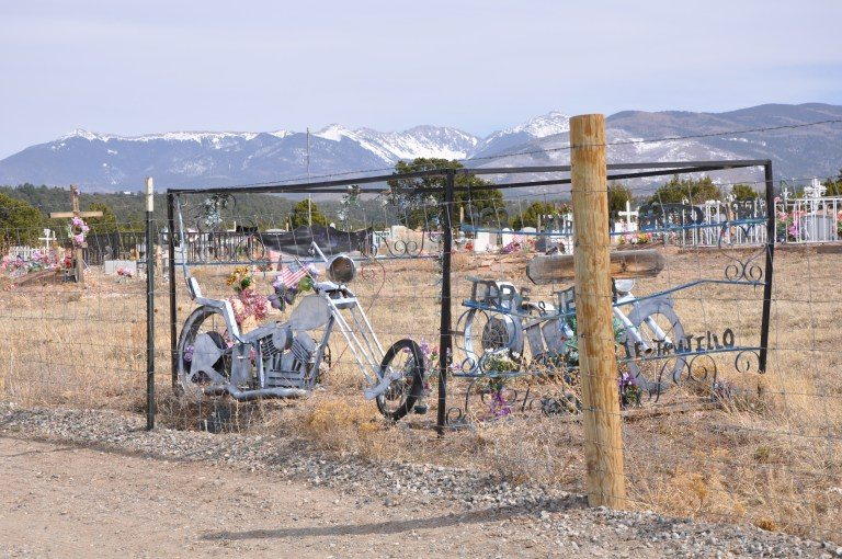 Ghost-Bike-at-Los-LLanitos-Cemetery-Truchas-NM